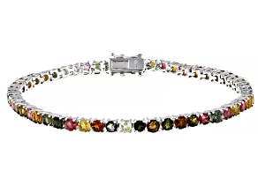 Multi Tourmaline Rhodium Over Silver Bracelet 6.00ctw