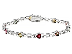 Multi Tourmaline Rhodium Over Sterling Silver Bracelet 5.7ctw