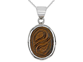 Tigers Eye Rhodium Over Sterling Silver Pendant with Chain
