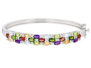 Multi Gem Rhodium Over Sterling Silver Bangle Bracelet 5.29ctw