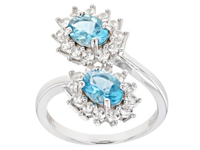 Blue Oval Apatite With White Zircon Rhodium Over Sterling Silver Bypass Ring 3.00ctw