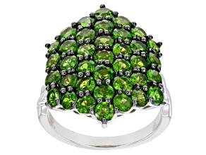 Green Chrome Diopside Rhodium Over Sterling Silver Ring 4.34ctw