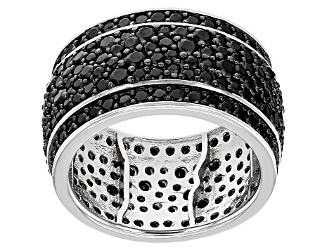 Black Spinel Rhodium Over Silver Ring 3.72ctw