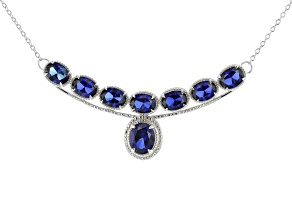 Lab Created Blue Sapphire Rhodium Over Silver Necklace 12.00ctw