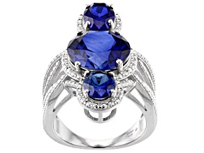 Lab Created Blue Sapphire Rhodium Over  Silver Ring 10.90ctw