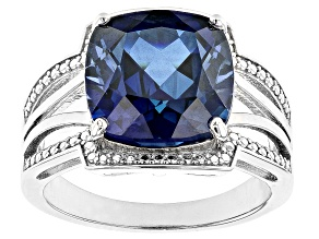 Lab Created Blue Sapphire Rhodium Over Silver Ring 8.50ctw