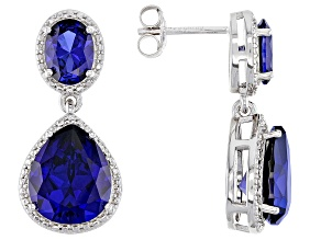 Lab Created Blue Sapphire Rhodium Over Silver Earrings 7.50ctw