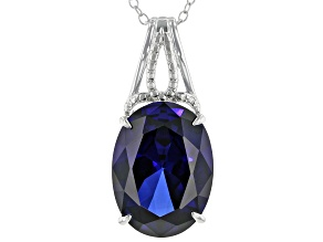 Lab Created Blue Sapphire Rhodium Over Silver Pendant W/ Chain 11.00ctw