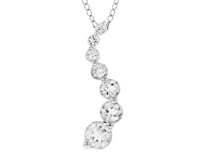"White Topaz Rhodium Over Sterling Silver Pendant with 18"" Chain 1.27ctw"