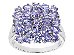 Tanzanite Rhodium Over Sterling Silver Cluster Ring 3.28ctw