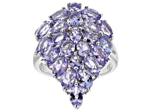 Blue Tanzanite Rhodium Over Sterling Silver Cluster Ring