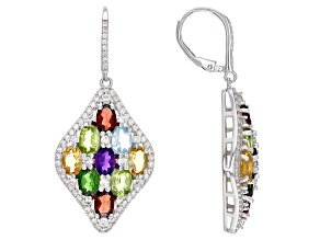Multi Gem Rhodium Over Sterling Silver Earrings. 10.65ctw
