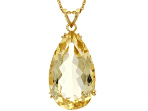 Citrine 18k Yellow Gold Over Silver Pendant with Chain 20.26ctw
