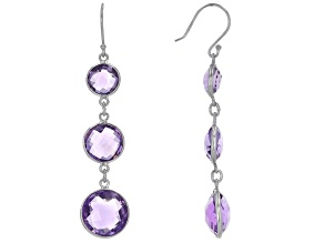 Amethyst Rhodium Over Sterling Silver Dangle Earrings 20.00ctw