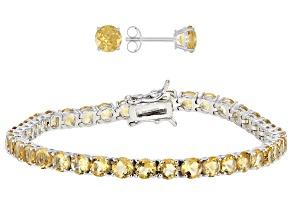 Citrine Rhodium Over  Silver Jewelry Set 9.02ctw