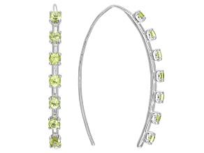 Green Peridot Rhodium Over Silver Threader Earrings 1.40ctw
