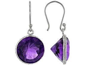 African Amethyst Rhodium Over Sterling Silver Dangle Earrings 11.00ctw