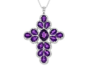 Purple African Amethyst Rhodium Over Sterling Silver Pendant With Chain 8.00ctw