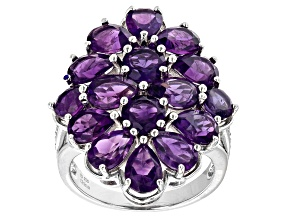 Purple African Amethyst  Rhodium Over Sterling Silver Ring 5.10ctw