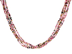Multi Tourmaline Over Rhodium Silver Bead Necklace 65.00ctw