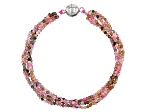 Multi Tourmaline Over Silver Bead Bracelet 25.00ctw
