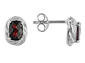 Red Garnet Rhodium Over Sterling Silver Stud earrings 1.65ctw