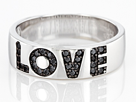 "Black Spinel Rhodium Over Sterling Silver ""Love"" Band Ring 0.18ctw"