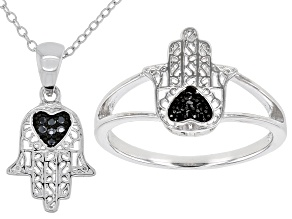 Black Spinel Rhodium Over Silver Hamsa Hand Jewelry Set 0.07ctw