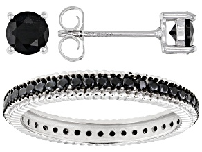 Black Spinel Rhodium Over Silver Jewelry Set 1.5ctw