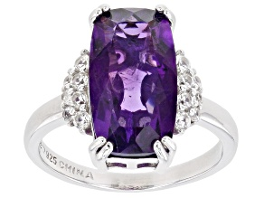 Purple Amethyst Rhodium Over Sterling Silver Ring 4.80ctw