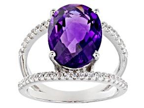 Purple Amethyst Rhodium Over Silver Ring 5.28ctw