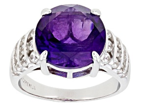 Purple Amethyst Rhodium Over Sterling Silver Ring 5.97ctw