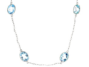 Blue Topaz Rhodium Over Silver Station Necklace 28.00ctw