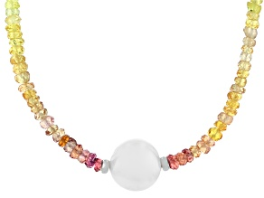 Multi Color Sapphire Rhodium Over Silver Necklace