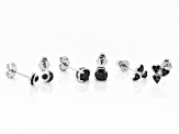 Black Spinel Rhodium Over Sterling Silver Set of 3 Earrings 1.32ctw