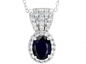 Blue Sapphire Rhodium Over Sterling Silver Pendant With Chain 2.50ctw