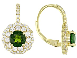 Green Russian Chrome Diopside 18k Yellow Gold Over Sterling Silver Earrings 3.31ctw
