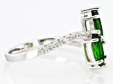 Green Russian Chrome Diopside Rhodium Over Silver Ring 1.24ctw
