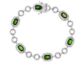Green Chrome Diopside Rhodium Over Sterling Silver Station Bracelet 7.50ctw