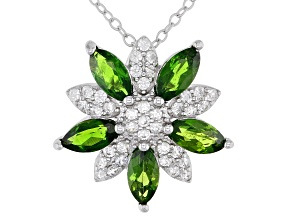 Green Chrome Diopside Rhodium Over Silver Floral Shaped Pendant with Chain 1.52ctw