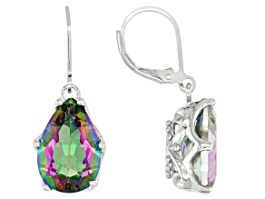 Multi Color Quartz Rhodium Over Sterling Silver Earrings 10.00ctw