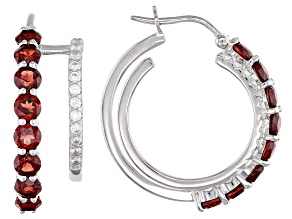 Red Garnet Rhodium Over Sterling Silver Earring Set 2.60ctw