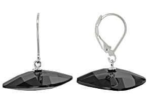 Black Spinel Rhodium Over Sterling Silver Earrings 37.00ctw