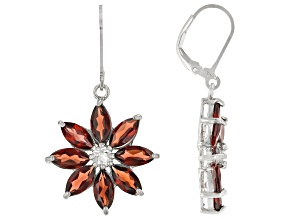 Red Garnet Rhodium Over Silver Flower Earrings 9.70ctw