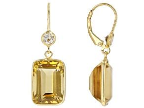 Yellow Brazilian Citrine 18K Yellow Gold Over Silver Dangle Earrings 15.00ctw
