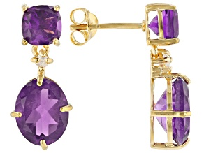 Purple African Amethyst 18K Yellow Gold Over Silver Earrings 5.88ctw
