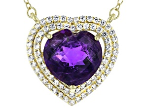 Purple African Amethyst 18K Yellow Gold Over Sterling Silver Pendant With Chain 5.40ctw