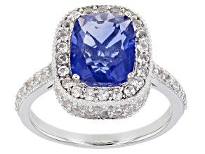 Blue Fluorite Rhodium Over Silver Ring 4.54ctw