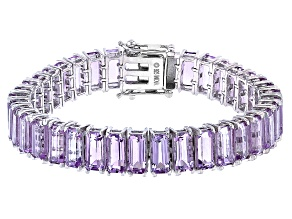 Amethyst Rhodium Over Sterling Silver Bracelet 45.00ctw
