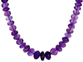 Purple African Amethyst 18k Yellow Gold Over Sterling Silver Graduated Bead Necklace 200.00ctw
